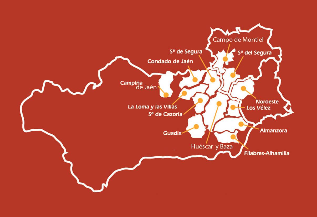 Mapa IGP con comarcas reconocidas Cordero Segureño